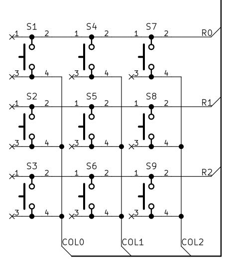 Матрица микрокнопок. Схема.