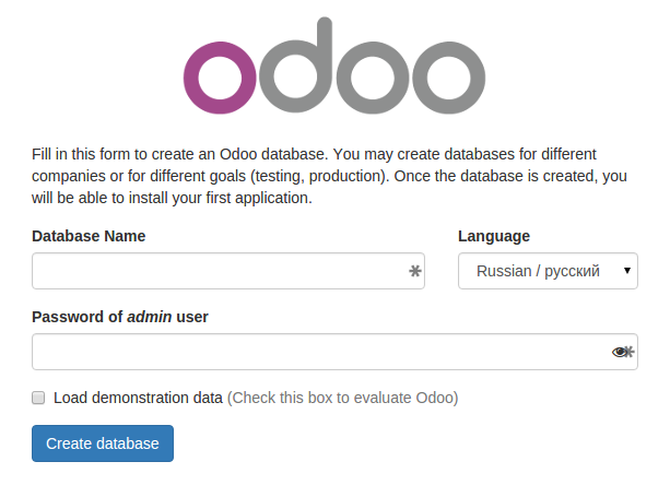 Odoo 9.0 create database