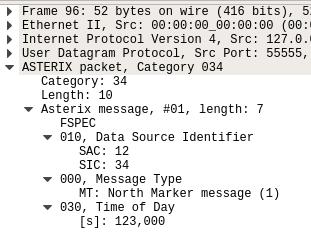 Анализ данных по протоколу ASTERIX в Wireshark