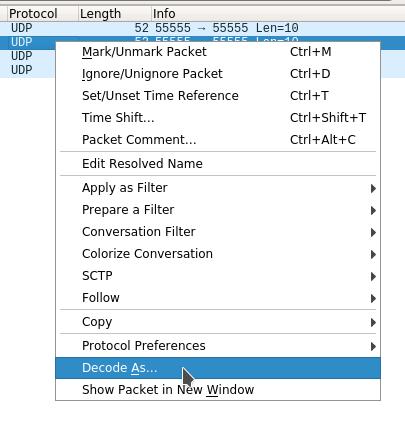 Анализ данных по протоколу ASTERIX в Wireshark. Decode As