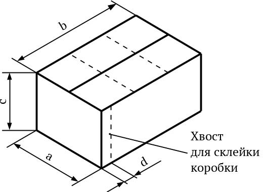 Картонная коробка с размерами