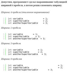 табуляция для выравнивания кода в программировании